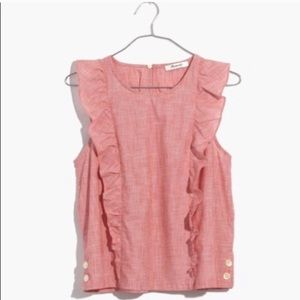 Madewell sleeveless ruffle shirt. Light red. NWOT